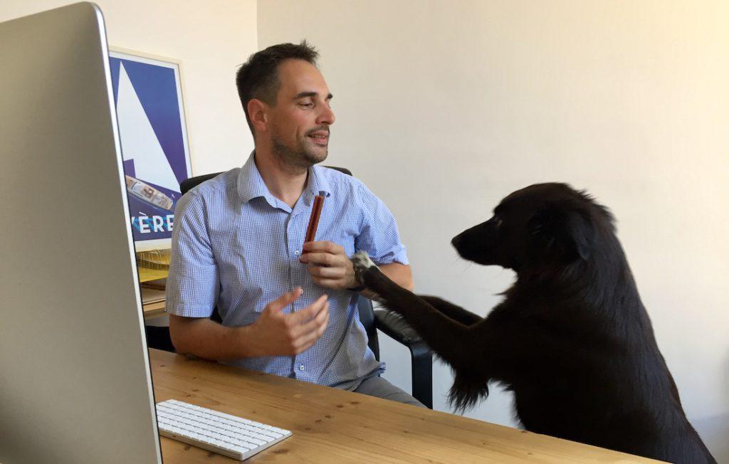Pierre Dron et son chien