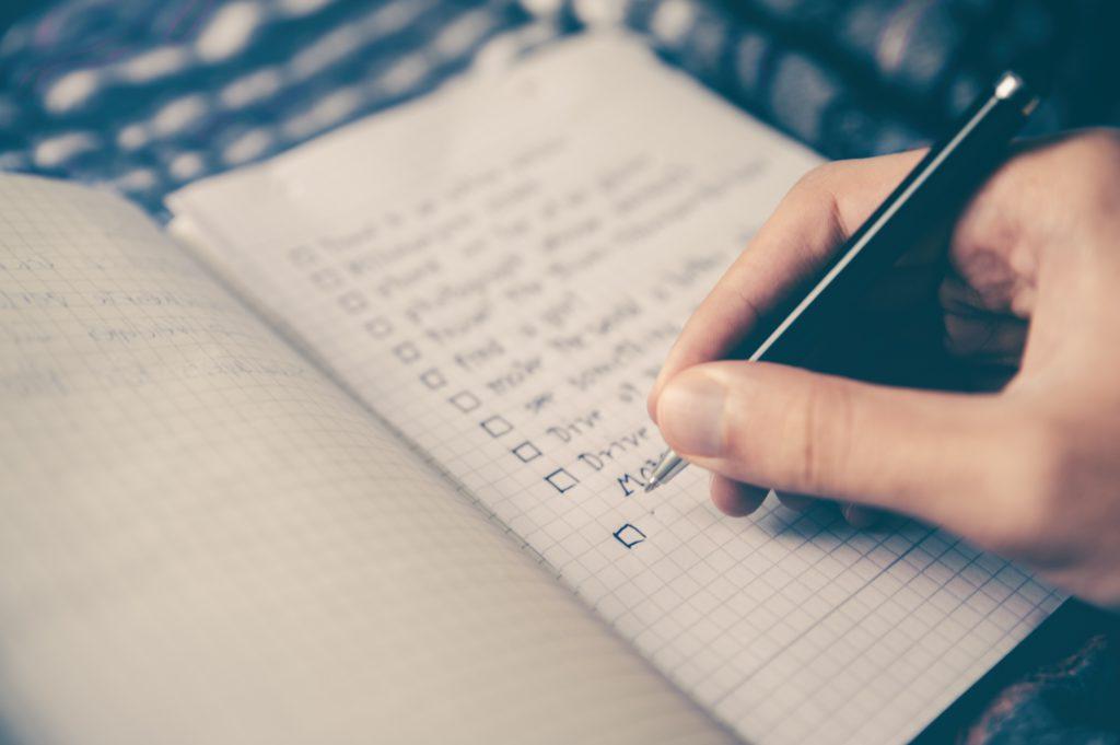 objectifs dans un carnet